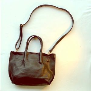 URBAN OUTFITTERS Vegan Leather Tote Bag Black
